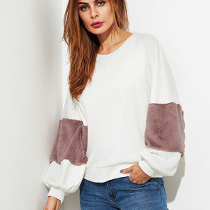 Sweaters - Fuzzy Fabric Detail Exaggerate Sleeve Pullover